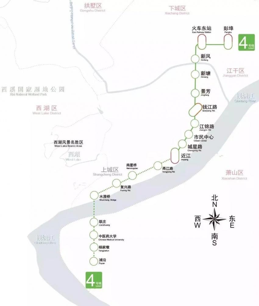 (4号线线路图 来源于杭州发布)-好消息 地铁4号线一期南段即将开通 图片