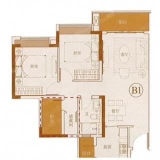 B1B2 85㎡二房户型