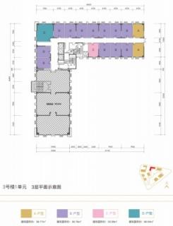 3号楼1单元3层平面示意图