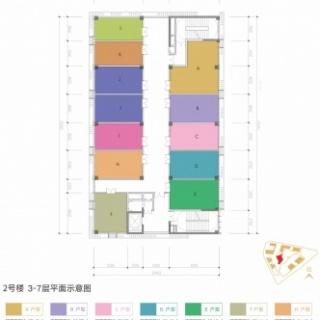 2号楼3-7层平面示意图