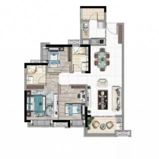 建面95平四房户型