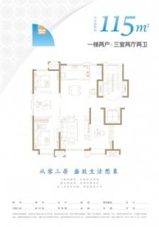洋房标准层115平米户型
