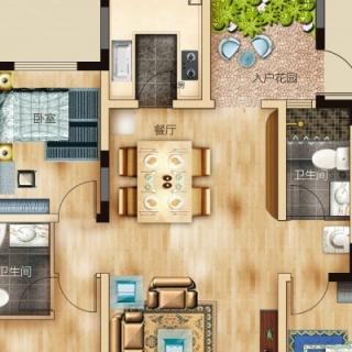 两室两厅一卫 102平