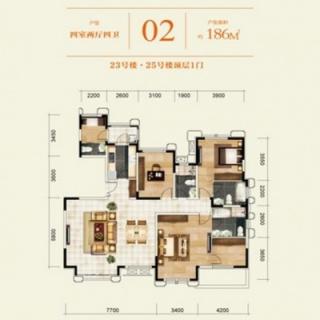 23#、25#名邑系洋房顶层02户型