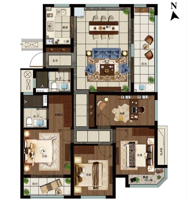 C戶型裝修方案建議圖 免責提示:1、本戶型為大境東湖城項目(宣傳推廣名為:旭輝寶龍 東湖城)的建筑面積約139方戶型的裝修及家具布置建議圖,裝修方案由裝修公司設計和提供,圖中戶型結構、格局、功能區域等進行了適當優化和提升,僅供購房者參考,如有需要,請購房者自行與裝修公司協商。2、戶型內裝修方案建議圖所標戶內尺寸、面積僅供參考,該戶型的尺寸、建筑面積以房屋交付時的測繪數據為準;相同戶型的日照采光、視域范圍、局部結構、套內面積等因所在樓棟、樓層 、單元等位置差別可能而存在差異。戶型圖中的各類軟裝裝飾、家