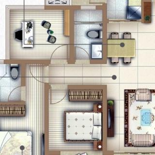 户型B三房两厅两卫
