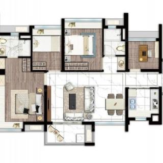 建面91平四房两厅户型